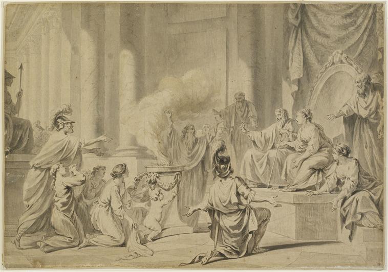 Nicolas René Jollain, le Jeune. Infant Pyrrhus brought before Glaucus (Original: Le jeune Pyrrhus présenté à Glaucias).Musée du Louvre.
