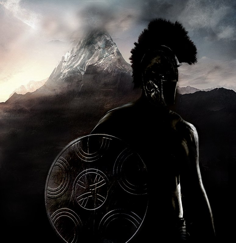 Artistic depiction of an Illyrian soldier equipped with an Illyrian helmet and shield with a mountain suggesting the roughness of the terrain on his back.
