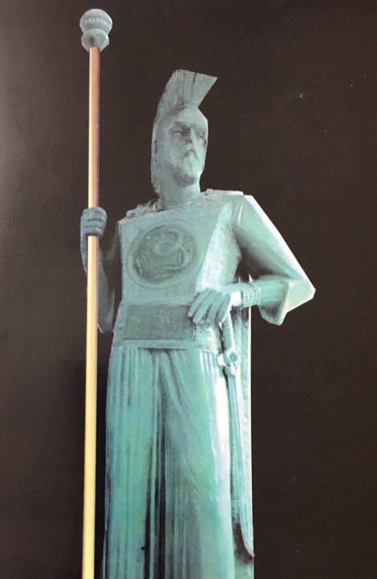 A statue of the Illyrian king Bardylis (r.393-358) made by Benard Lekgegaj.