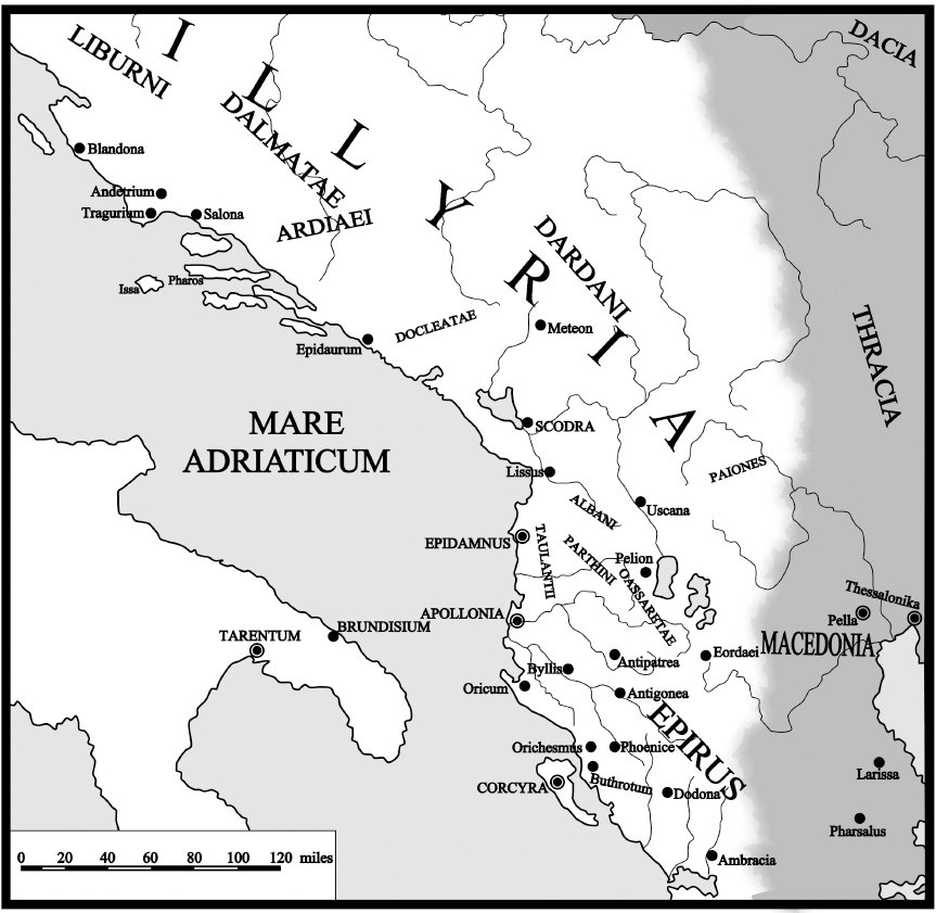 Map of the Illyrian tribes and the neighbouring entities during antiquity.